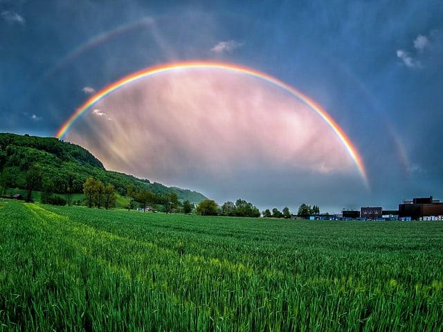 Dunkle Wolken, vor denen ein Regenbogen mit Doppelbogen leuchtet. Unten satt grünes Feld.