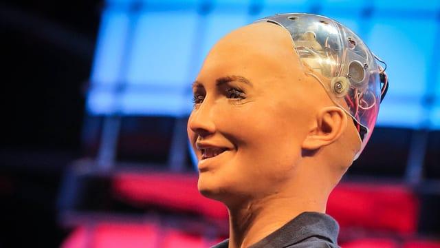 Ein Roboterkopf lächelt unheimlich vor sich hin.