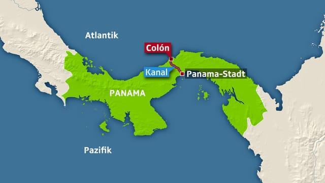 Colón liegt am atlantischen Zugang zum Panamakanal. Der 82 Kilometer lange Kanal verbindet den Atlantik mit dem Pazifik.