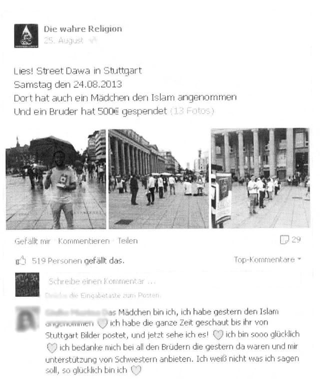 Die Kopie des mittlerweile gelöschten Facebook-Eintrages von Johanna (Name von der Redaktion geändert).