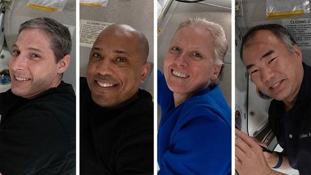 Vier Astronautinnen und Astronauten, die zur ISS flogen. Von links nach rechts: Michael Hopkins, Victor Glover, Shannon Walker und Soichi Noguchi.