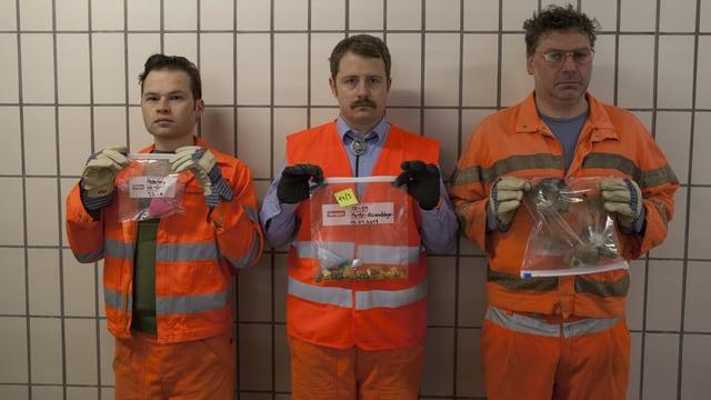 Die drei Abfalldetektive der Serie: Gabriel, Oli und Michel
