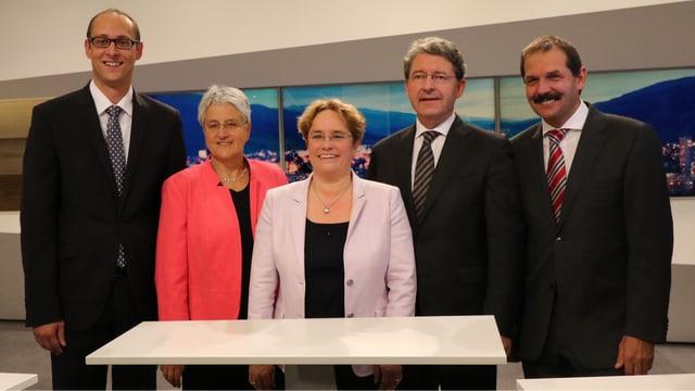 Martin Candinas, Silva Semadeni, Magdalena Martullo-Blocher, Heinz Brand e Duri Campell.