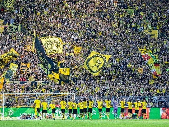 Die BVB-Spieler vor ihren Fans.