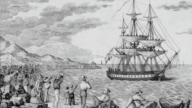 Gravur mit dem Schiff «María Pita»