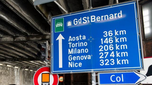 Tavla a l'entrada dal tunnel Grond Son Bernard
