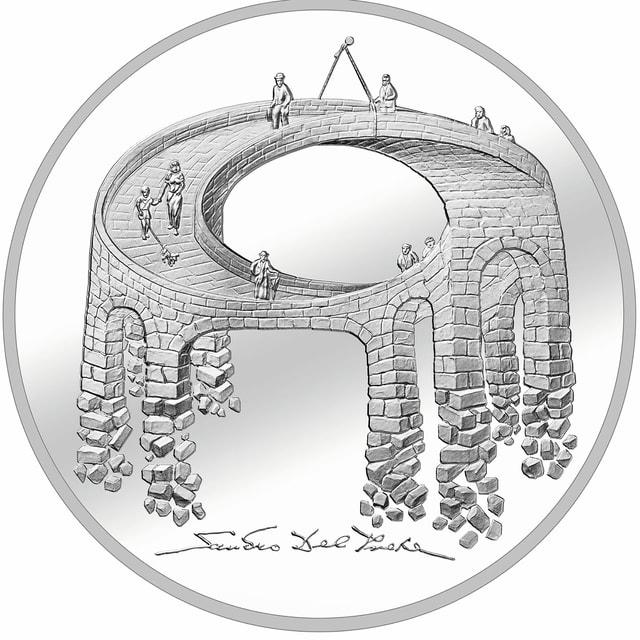 """Silbermünze """"Viadukt des Lebens""""."""