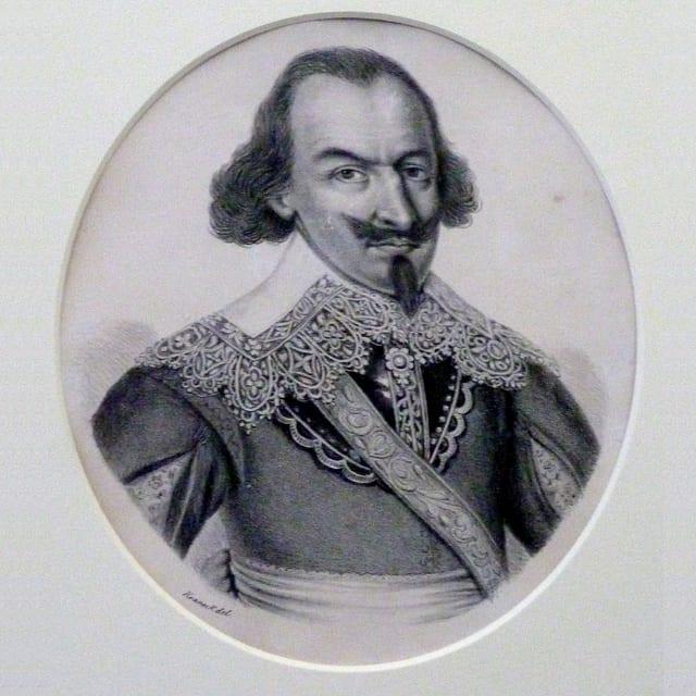 Gemälde mit einem Porträt von Jörg Jenatsch hinter einem ovalen Passepartout.