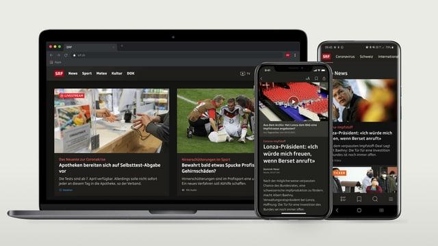 Notebook und zwei Smartphones zeigen SRF.ch und die SRF-News-App mit aktiviertem Dark Mode
