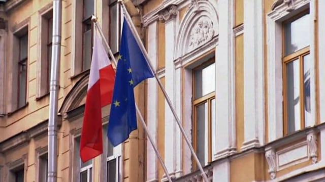 Die Fassade des polnischen Konsulats in St. Petersburg.