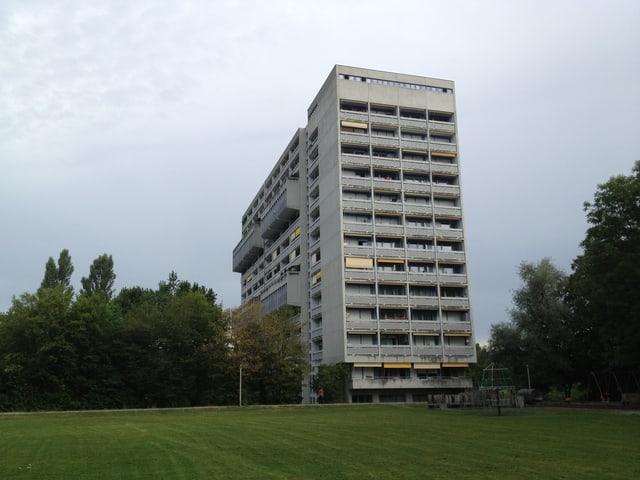 Ein graues Hochhause mit vielen Balkonen, davor eine grüne Wiese.