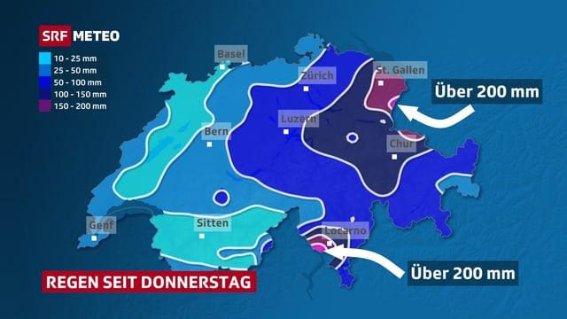 Die Schweizer Karte zeigt, wo es seit Donnerstag besonders stark regnete. Dabei stechen vor allem das Tessin und die Ostschweiz hervor.