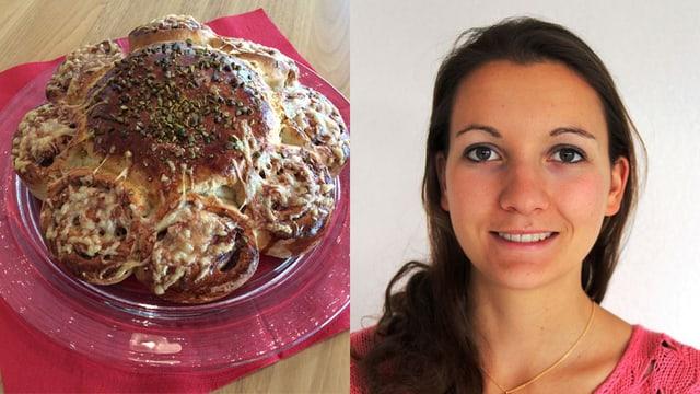 Bildmontage: Kuchen und Porträt von Corina Lösch.