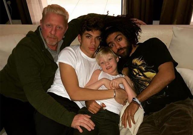 Boris Becker mit seinen drei Söhnen.