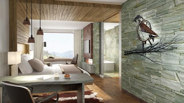 Eine Illustration des zukunftigen Zimmers vom Bürgenstock-Hotel