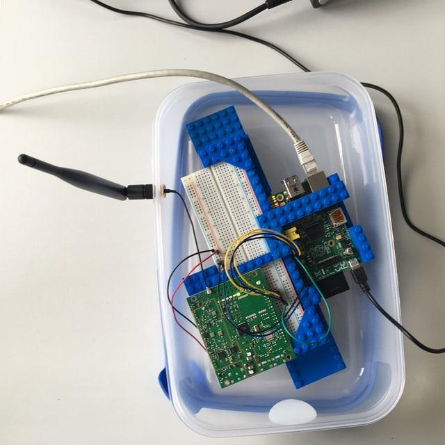 Ein Tupperware mit zwei Leiterplatten, einigen Kabeln und einer Antenne