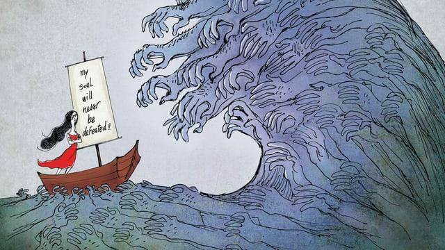 Eine Frau treibt in einem Boot auf eine grosse Welle zu.