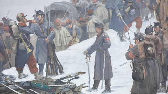 Gemälde-Ausschnitt mit Soldaten