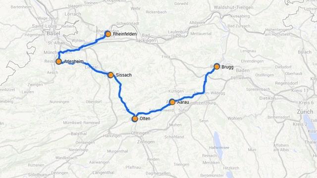 Karte mit der ganzen Route eingezeichnet.