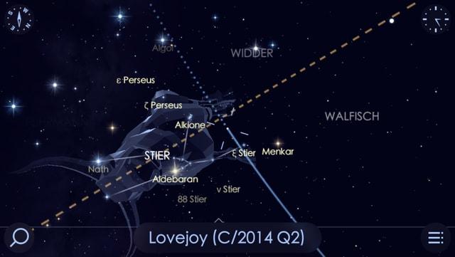 Die App Solar Walk 2 zeigt den Kometen am Nachthimmel und seine Flugbahn.