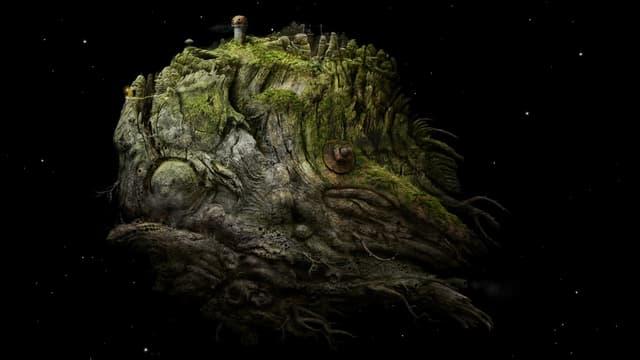 Ein grünbraunes Stück Wurzel, das im Weltraum schwebt.