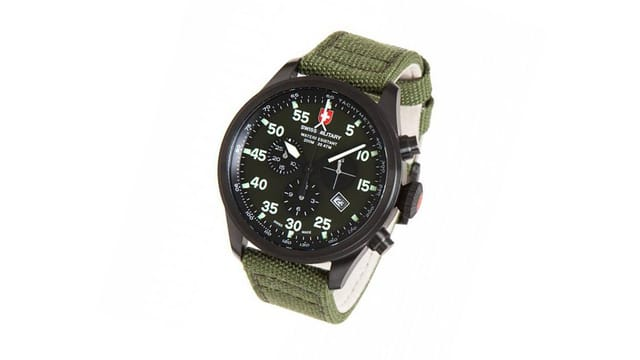 Eine olivgrüne Uhr.