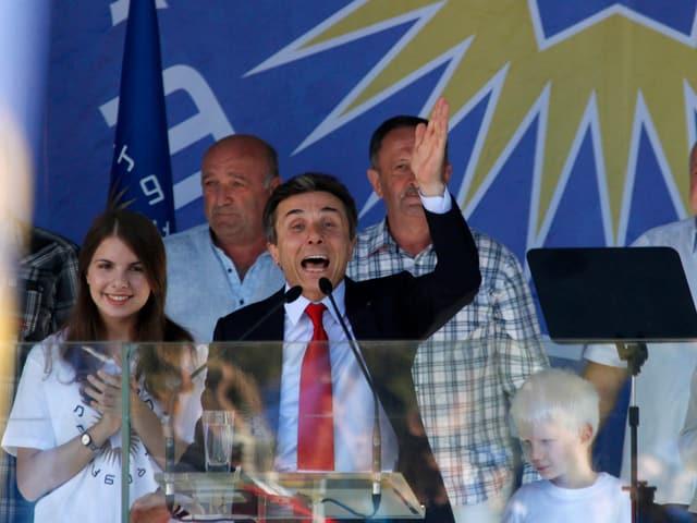 Iwanischwili bei einer Wahlkampfveranstaltung.