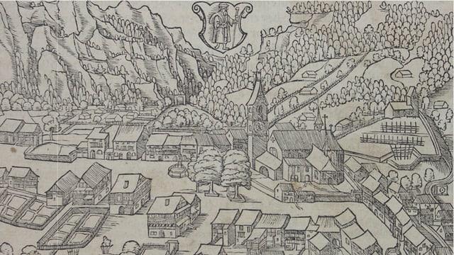Das Bild ist die älteste Überlieferung Glarus', von Hans Asper um 1547 gezeichnet.