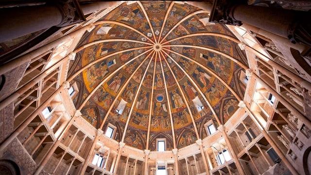 Eine runde Kuppel von unten mit vielen christlichen Deckenmalereien.