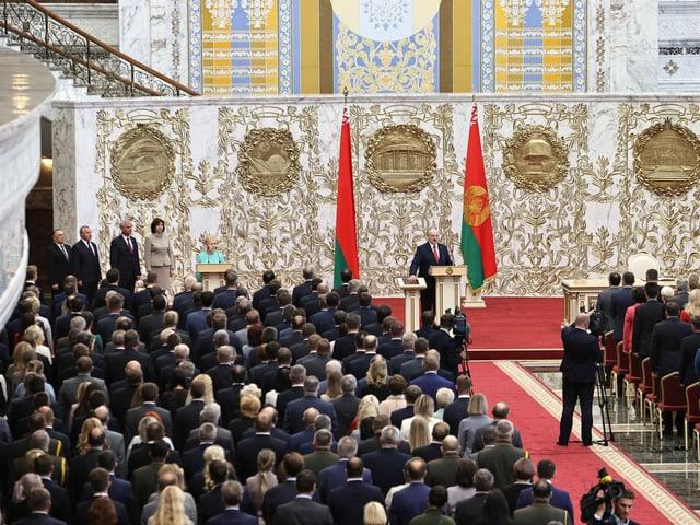 Lukaschenko bei der Vereidigung