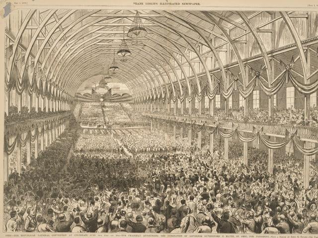 Zu sehen ist eine Zeichnung des republikanischen Parteitages von 1876 in Cincinnati, Ohio.
