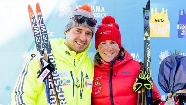 Ilya Chernousov e Katerina Smutná gudognan la Diagonela 2017.