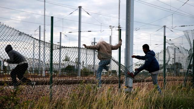 trais giuvens stgarpan giu ina saiv da fier per entrar en l'areal da l'Eurotunnel a Calais
