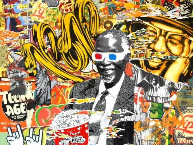 Eine Kollage, die unter anderem einen älteren afrikanischen Mann mit 3D-Brille und Popcorn in den Händen zeigt.
