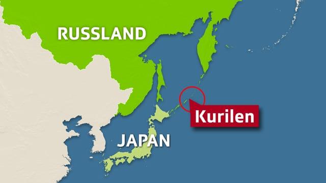Kartendartsellung mit Japan, den Kurilen-Inslen und einem Teil Russlands
