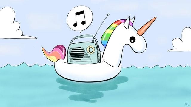 aufblasbares Regenbogen-Einhorn mit einem Radio auf dem Rücken
