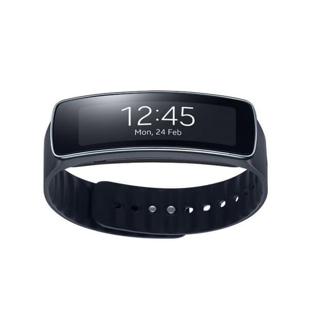 Schwarze Armbanduhr mit gebogenem Display.