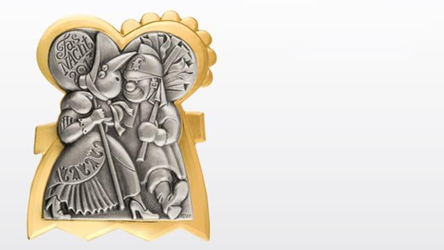 Plakkette 2013 - Eine Alti Tante aus Basel und ein Chienbäse-Träger aus Liestal