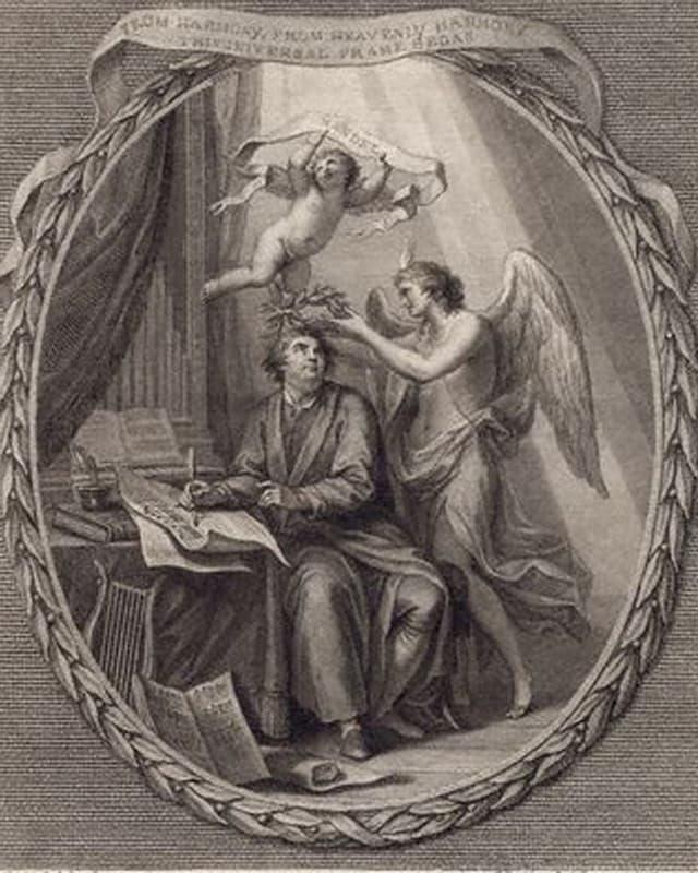 Eine Lithografie aus dem Jahr 1784 des Komponisten Georg Friedrich Händel.