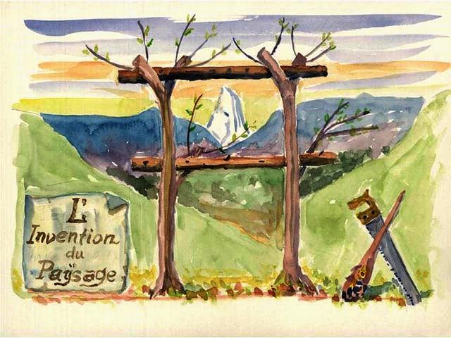 Zwei Baumstämme ragen in den Himmel. Zwei Stämme verbinden die Bäume horizontal, so dass ein Rahmen entsteht.