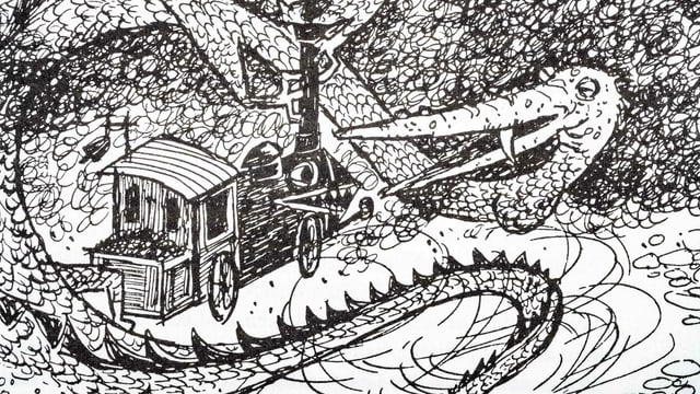 A black and white illustration of a locomotive running towards a kite.