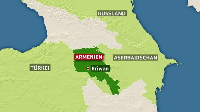 Karte von Armenien mit den umliegenden Ländern