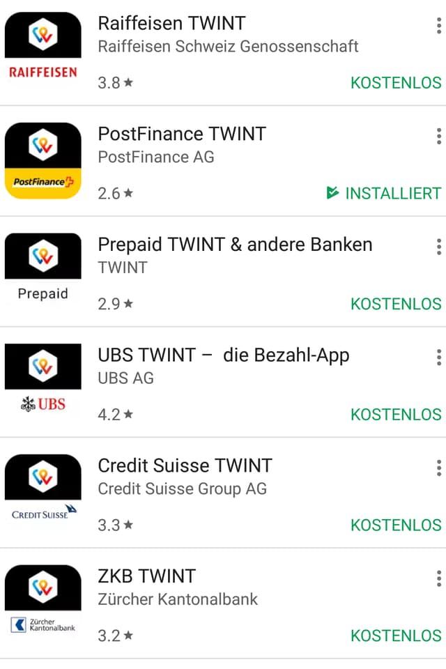 Screenshot aus Google Play Store mit Twint-Versionen von 7 verschiedenen Banken.