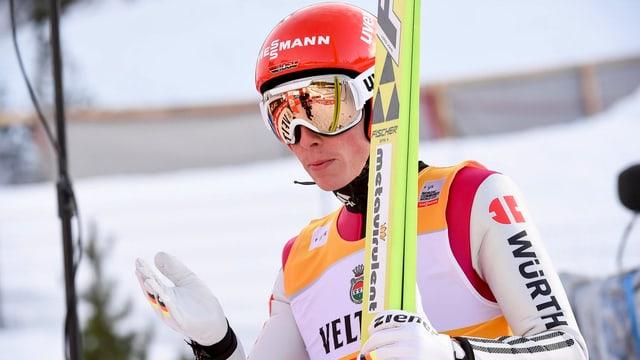 Nahaufnahme von Eric Frenzel nach dem Skispringen.
