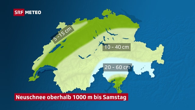 Schweizer Karte mit Neuschneemengen bis Samstag
