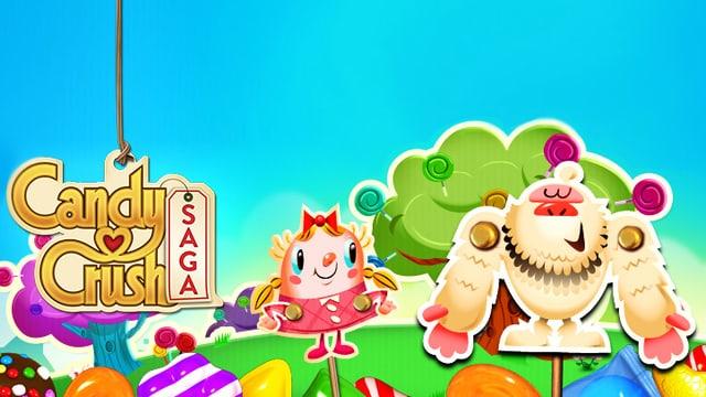 Grafik zum Game Candy Crush Saga mit fröhlichen Comicfiguren in einer bunten Süssigkeitenwelt.