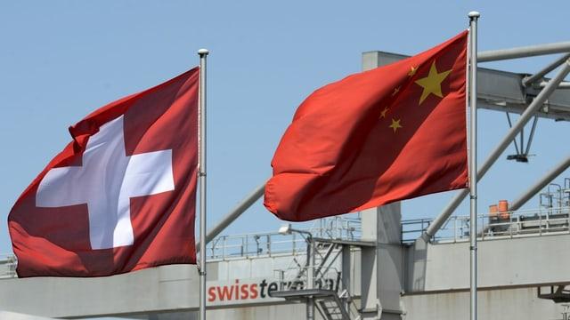 Fahnen der Schweiz und China.