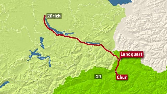 Karte SBB-Störung Chur-Zürich.