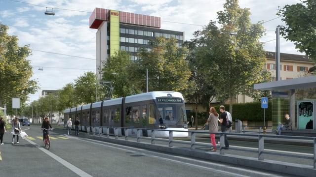 Visualisierung eines Trams, wie es durch eine Stadt fährt.