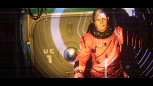 Die Astronautin sieht aus wie eine Puppe.